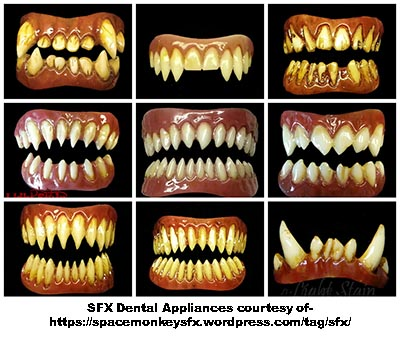 Special effects dental appliances made on alginate dental models. Picture courtesy of https://spacemonkeysfx.wordpress.com/tag/sfx/
