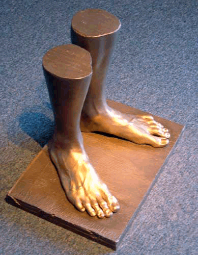 The customer made a table out of this foot casting