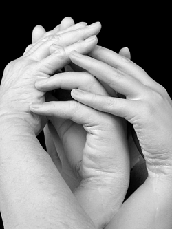 Beautiful lifecasting of three women's hands. This one is of two sisters with their elderly mother.
